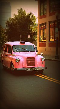 Pink Taxi Cab, Boston - Print For Sale http://www.redbubble.com/people/amandavontobel/works/9220475-pink-taxi-cab-boston