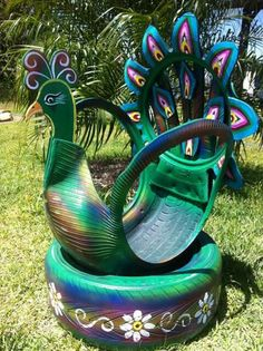 Recycling Old Car Tires - Life ideas Tire Garden, Diy Garden Bed, Garden Crafts, Garden Projects, Tire Furniture, Diy Garden Furniture, Diy Playground, Yard Art, Tire Craft