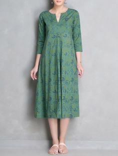 Buy Green Printed & Pleated Cotton Dress Apparel Tops Dresses Chaukhana Mangalgiri Chanderi Stoles and Dupattas Online at Jaypore.com
