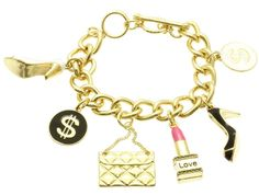 BRACELET / TOGGLE / METAL CHAIN / EPOXY / CHARMS / SHOE LIPSTICK CASH SIGN / 1 3/4 INCH TALL / NICKEL AND LEAD COMPLIANT