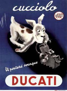 """Vintage Motorcycles Nicola Penny on - """"Vintage Ducati Ad Vintage Italian Posters, Pub Vintage, Vintage Advertising Posters, Vintage Advertisements, Retro Poster, Retro Ads, Motorcycle Posters, Motorcycle Art, Art Deco Posters"""
