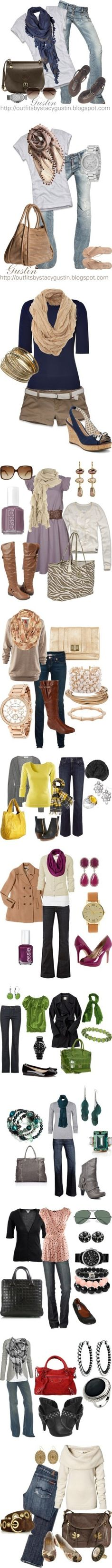 Great combinations with pops of color. Not too much, just right! Love these easy week end fashions!!