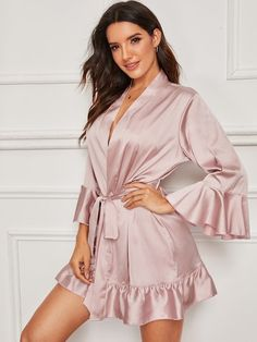 To find out about the Floral Lace Satin Cami Dress With Robe at SHEIN, part of our latest Night Robes ready to shop online today! Elegant Lingerie, Lingerie Silk, Lingerie Underwear, Mode Kimono, Satin Cami Dress, Flannel Nightgown, Silk Chemise, Lingerie Outfits, Night Outfits