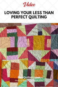 Don't let perfectionism take the joy out of quilting. Video from Angela Walters gives you a positive way to look at your imperfect quilting. Quilting Rulers, Quilting Tips, Quilting Tutorials, Machine Quilting, Quilting Designs, Jellyroll Quilts, Scrappy Quilts, Baby Quilts, Midnight Quilt Show