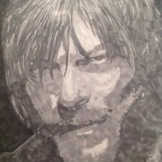 Closeup. Norman Reedus/Daryl Dixon from The Walking Dead. Copic sketching grays markers. By: April Clemmons