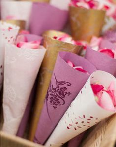 Rose Petal cones...more environmentally friendly than rice or plastic bubble jars...