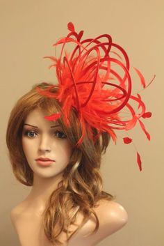 Red Fascinate Fascinator Hat/choose any other highlight feather colour or satin in Clothes, Shoes & Accessories, Women's Accessories, Fascinators & Headpieces | eBay!