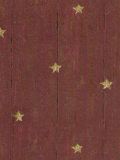 Maroon 418-60019 Wood Star Wallpaper - Rustic Country Primitive