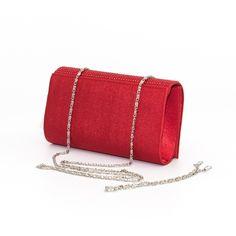 Listová červená kabelka s diamantmi