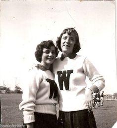 Vintage Snapshot Photo School Girls Cheerleaders Letter Sweaters 1951 1950s