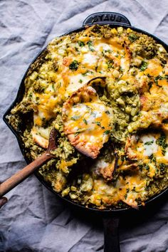 Skillet Salsa Verde Chicken Tortilla Rice Bake. Mexican Food Recipes, Dinner Recipes, Mexican Desserts, Cooking Recipes, Healthy Recipes, Freezer Recipes, Skillet Recipes, Freezer Cooking, Healthy Dinners