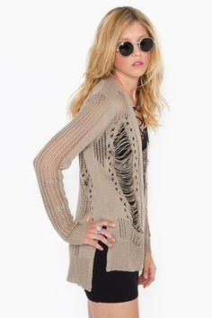 is it bad that i actually said this shredded knit cardi is pretty cool? maybe i should shred my own sweaters