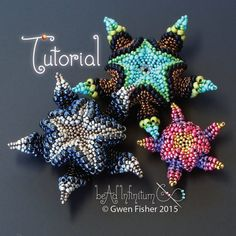 Make starfish pendants in 2 sizes with this original variation on beaded Cellini spiral, using peyote and herringbone stitches and seed beads Alien