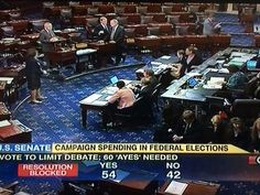 U.S. Senate votes 54-42 on party lines in favor of Senate Joint Resolution 19.  By a straight party-line vote of 54-42, the U.S. Senate defeated a constitutional amendment today that would have ...