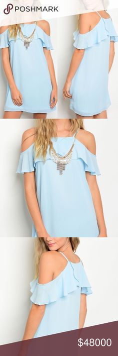 ✨COMINGSOON✨Light Blue Cold Shoulder Ruffle Dress This eye-catching dress comes ready to wear with a statement necklace. 100% polyester Buy single piece or add to a bundle for savings at purchase. No trading. Price is firm. @caradock Dresses