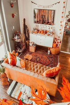 "Halloween Vibes & Vintage Ties: ""What a cozy room! I so admire people who have such an eye for matching decor. Photo and adorable room belongs to . Halloween Room Decor, Fall Room Decor, Halloween Movie Night, Soirée Halloween, Home Decor, Halloween Things To Do, Halloween Decorations Apartment, Halloween Inspo, Vintage Halloween"