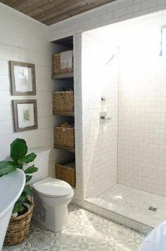 Aug 2017 - Beautiful bathroom remodel and complete transformation to this dream bath! Urban farmhouse master bathroom makeover with Delta Faucet. Bad Styling, Walk In Shower Designs, New Toilet, Bad Inspiration, Bathroom Inspiration, Bathroom Design Small, Small Bathrooms, Bathroom Designs, Farmhouse Bathrooms