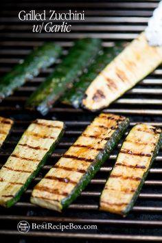 Grilled Zucchini Recipe with Garlic or BBQ Zucchini @bestrecipebox #grilled #zucchini #healthy #recipe #vegetarian #grilledzucchini