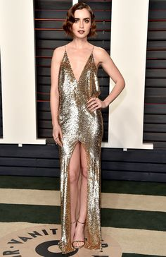 Oscars 2016: All the Dresses You Didn't See | People - Lily Collins in Saint Laurent