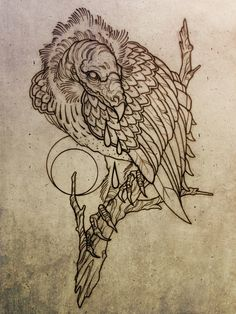Wonderful Grey Ink Vulture Tattoo Design