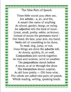 Grammar poem on 'parts of speech'.