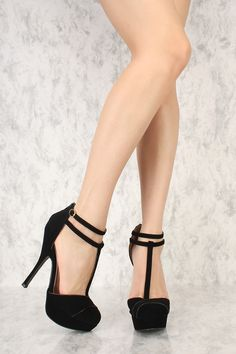 41914f7a6bd Black T-Strap Closed Toe Platform High Heels Nubuck Faux Leather · Black  Strap HeelsCheap ...