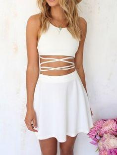 Shop White Cross Backless Crop Top With High Waist Skate Skirt from choies.com .Free shipping Worldwide.$16.9