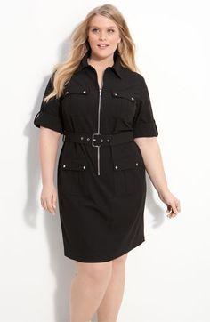 MICHAEL Michael Kors Belted Shirtdress (Plus Size). $130.00. #fashion #women #shirtdress #plus size fashion for women