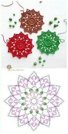 Crochet Star Patterns, Crochet Snowflake Pattern, Embroidery Flowers Pattern, Crochet Snowflakes, Crochet Designs, Crochet Diagram, Crochet Chart, Crochet Basics, Crochet Motif