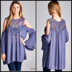 ❗️COMING SOON❗️ Periwinkle Darling Lace Tunic Top Amazing, gorgeous, and so so darling! Fabulous lace crochet neckline, beautiful periwinkle in color! Cold open shoulder style. Brand new. S (2-4) M (6-8) L (10-12). Gorgeous for all seasons, over black bottoms in the winter and over white bottoms in the summer! Tops Blouses