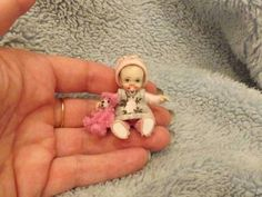 tiny+miniature+doll   Miniature handmade MINI BABY GIRL ooak SCULPT TINY DOLL HOUSE ...