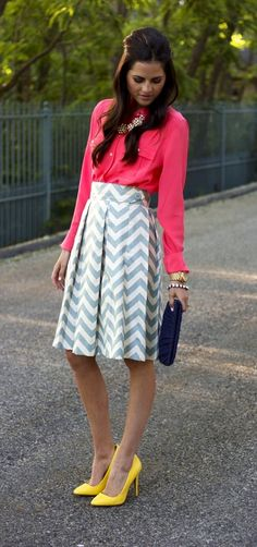 Print + color blocking. Need chevron print skirt!