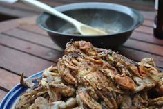 In the Kitchen with Little Buddy: Garlic Basil Soft Shell Crabs