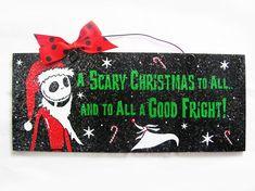Nightmare before Christmas sign. Jack Skellington Santa. Scary Christmas. via Etsy
