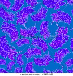 seamless pattern with feathers on background. vector illustration - stock vector
