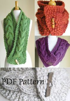 Knitting Pattern Cabled Scarf and Cowl by MoonandSixpenceKnits, $4.00