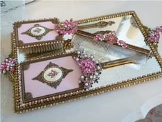 Antique Pink Rose Ormolu Dresser Set 4 Pcs.  From The Collection  By Debbie Del Rosario-Weiss, brush, comb, vintage, tray, mirror,