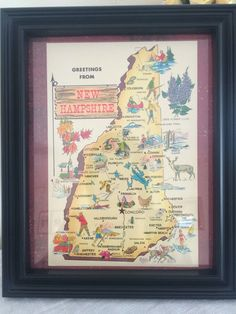 A personal favorite from my Etsy shop https://www.etsy.com/listing/502608632/8-x-10-framed-vintage-new-hampshire-map