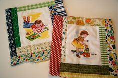 great use of novelty fabrics to make off-beat log cabin quilt blocks. Made by Hillary Lang.