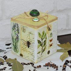 """Купить Короб """"Прованские травы"""" - белый, короб для хранения, короб для специй, коробка для чая"""