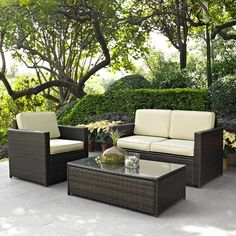 3 Piece Date Palm Wicker Seating Set