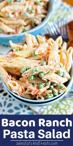 Creamy Bacon Ranch Pasta Salad with Pasta, Peas, Carrot, Bacon Bits and Ranch! This pasta salad will soon be a favorite at all your parties!