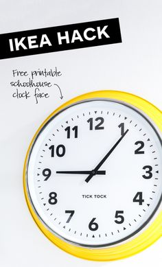 I am totally in love with the oversized wall clock in my new kitchen. It's an IKEA hack and super . Read moreHow to Customize an IKEA Wall Clock Diy Wall Decor, Diy Home Decor, Ikea Clock, Yellow Wall Clocks, Ikea Wall, Best Ikea, Large Clock, Super Mom, My New Room