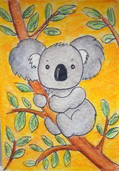 Koala Crayon Drawings, Cool Art Drawings, Bird Drawings, Easy Drawings For Kids, Drawing For Kids, Kids Art Class, Art For Kids, 3rd Grade Art Lesson, Kids Watercolor