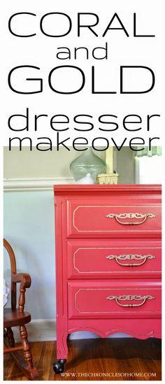 Coral and Gold Dresser Makeover