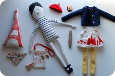 i have this paris doll kit but i love how she sewed the cutest little matching outfit and baguette and croissants! just might have to do that also!