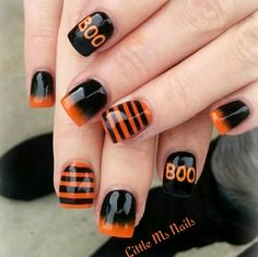 Halloween nails black orange nail art
