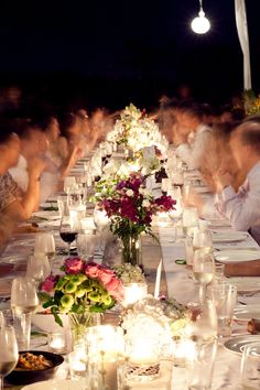 long table with candles
