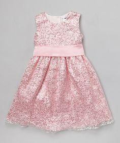 This Joe-Ella Pink Sequin A-Line Dress - Toddler & Girls by Joe-Ella is perfect! #zulilyfinds