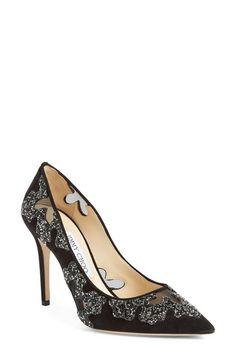 Jimmy Choo 'Karmel' Crystal Embellished Pointy Toe Pump (Women) available at Fab Shoes, Retro Shoes, Pump Shoes, Women's Pumps, Shoe Boots, Court Shoes, Women's Shoes, Stiletto Heels, High Heels